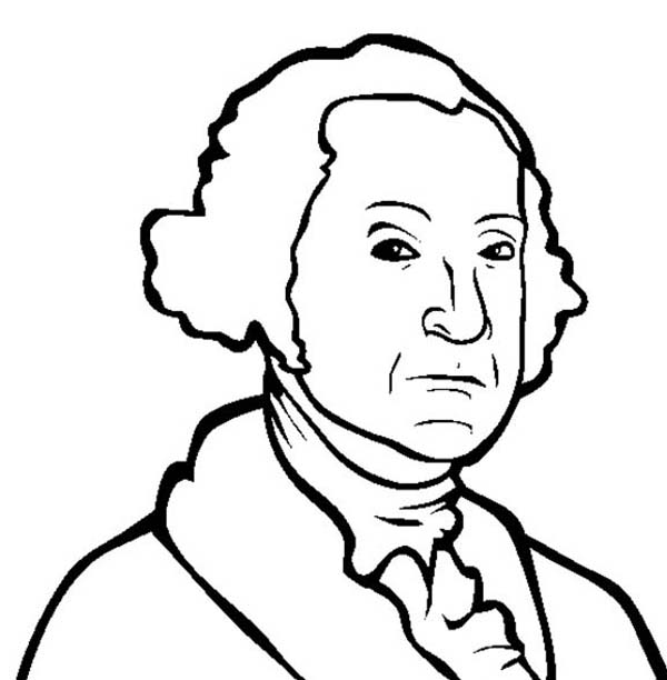 George Washington, : A Drawing of George Washington Coloring Page