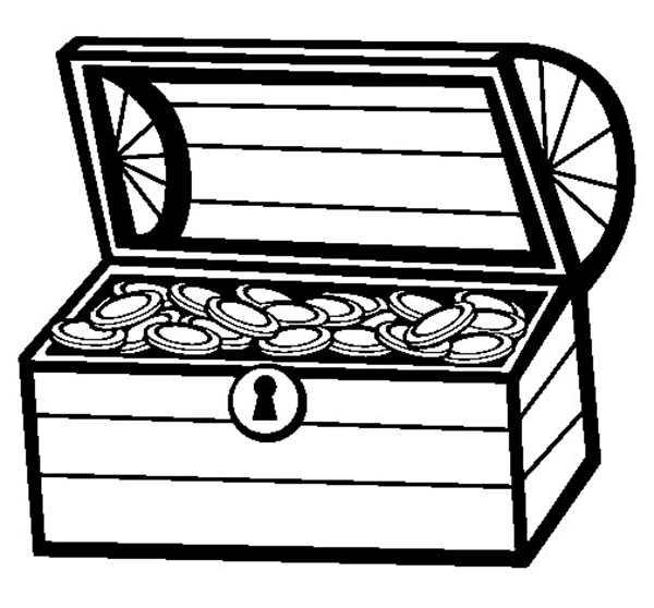 Treasure Chest, : A Drawing of Treasure Chest in Bold Line Coloring Page