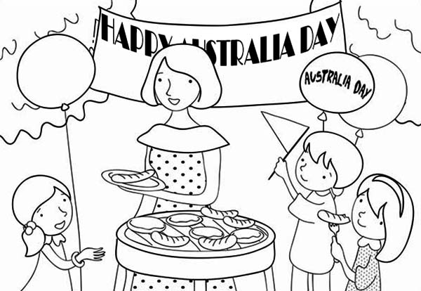 Australia Day, : A Family Celebrating Australia Day with Barbecue Coloring Page