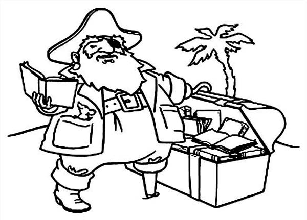 Treasure Chest, : A Fat Pirate Captain with Treasure Chest Filled of Books Coloring Page