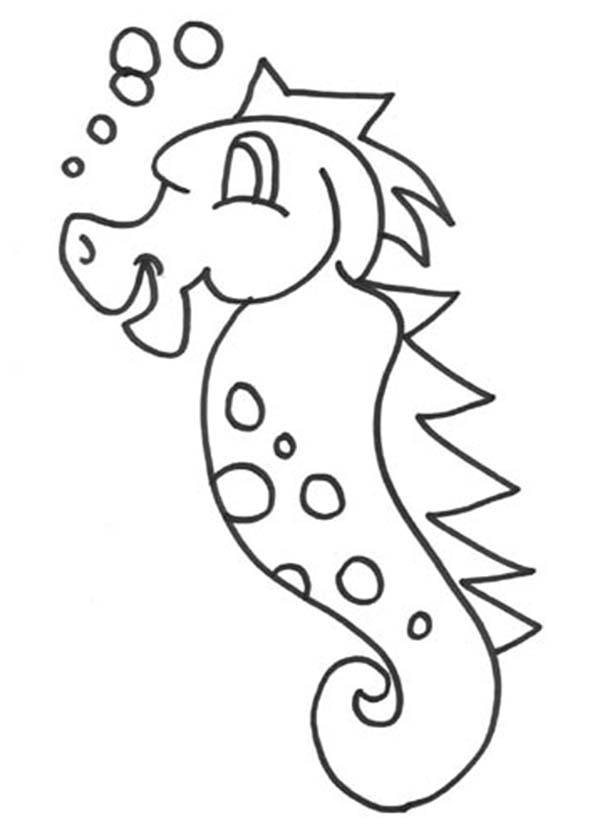 Seahorse, : A Kids Drawing of Seahorse Coloring Page