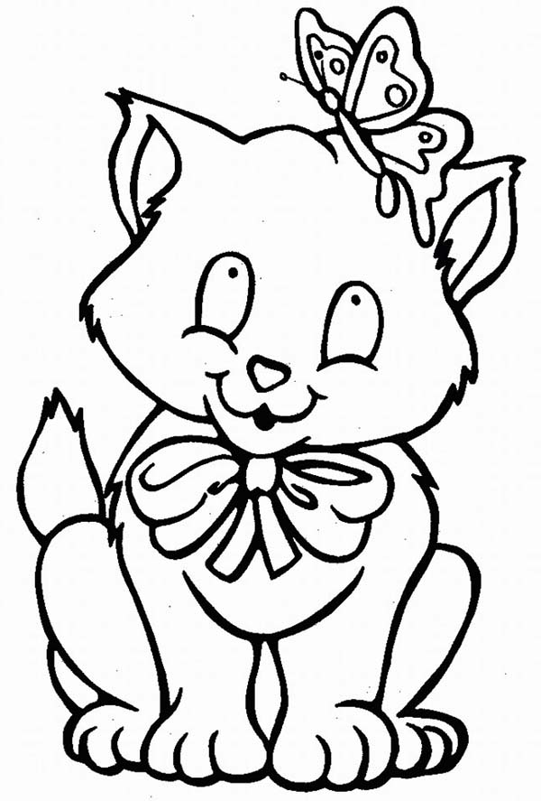 Kitty Cat, : A Kitty Cat and Its Butterfly Friend Coloring Page