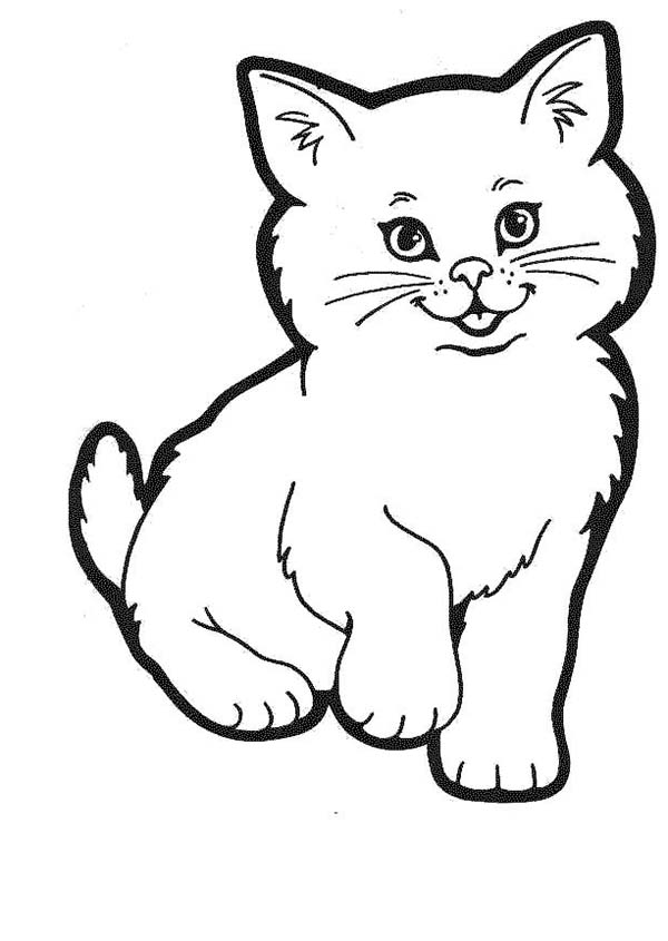A Lovely Kitty Cat In A Cat Show Coloring Page : Kids Play ...