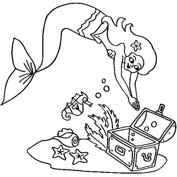 Treasure Chest, : A Mermaid and an Empty Treasure Chest Coloring Page
