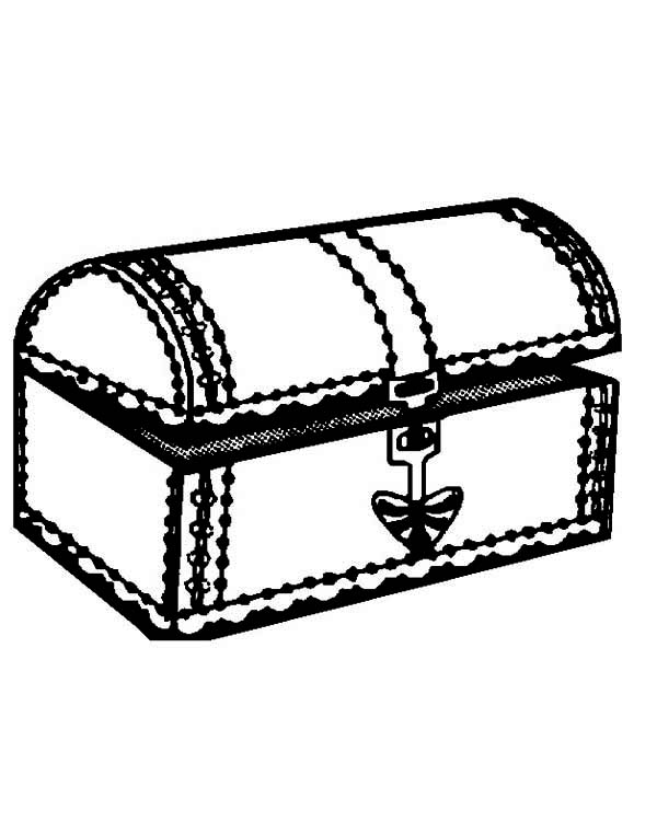 Treasure Chest, : A Nearly Opened Treasure Chest Coloring Page