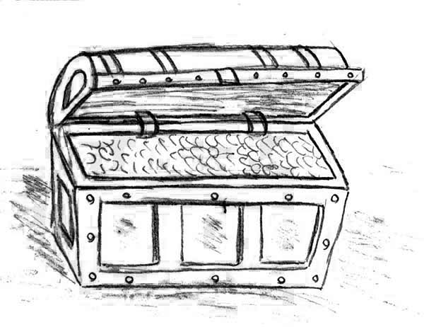 A Pencil Drawing Of Treasure Chest Coloring Page : Kids