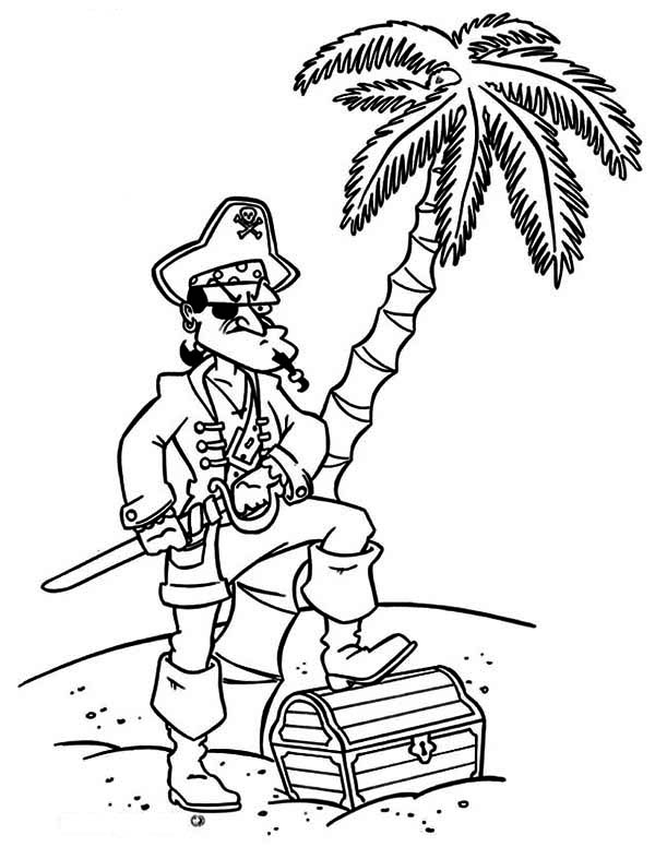 Treasure Chest, : A Pirate Captain Try to Keep His Treasure Chest Safe Coloring Page