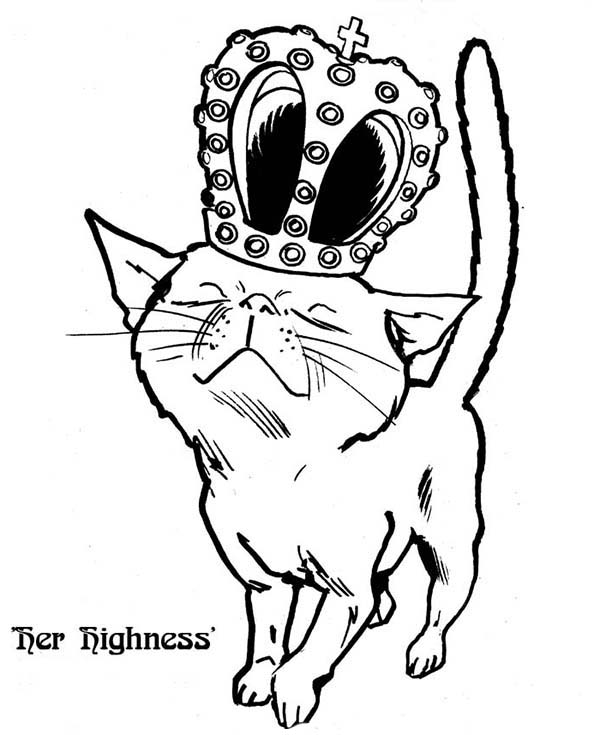 Kitty Cat, : A Royal Kitty Cat on Its Crown Coloring Page
