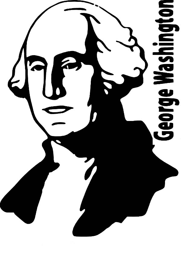 George Washington, : A Silhouette of President George Washington Coloring Page