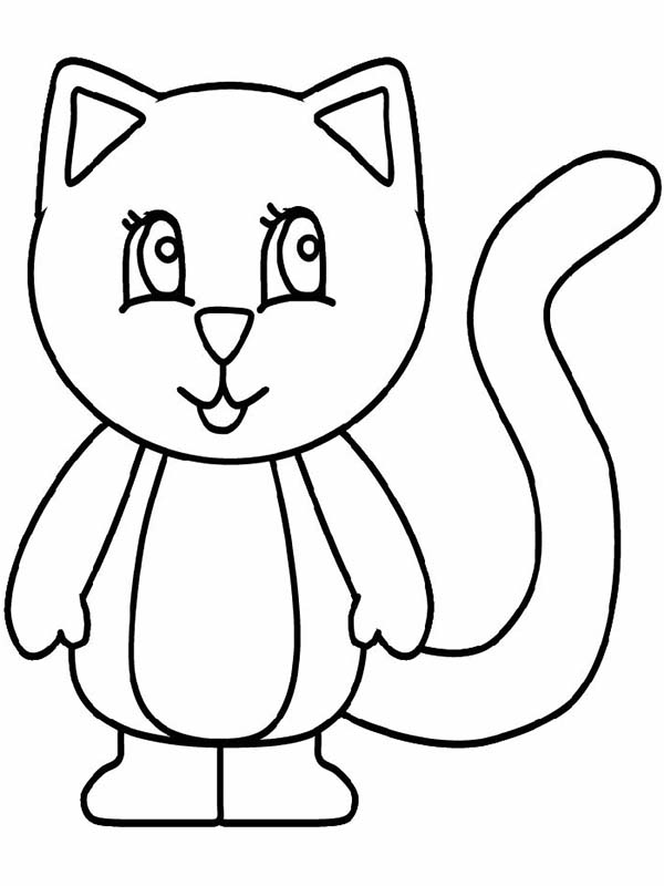 Kitty Cat, : A Simple Drawing of Kitty Cat in Standing Posture Coloring Page