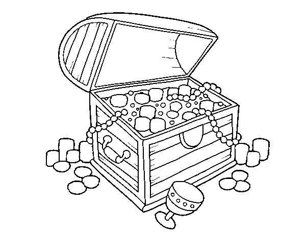 Treasure Chest, : A Spanish Wooden Treasure Chest with Lots of Jewelry Coloring Page