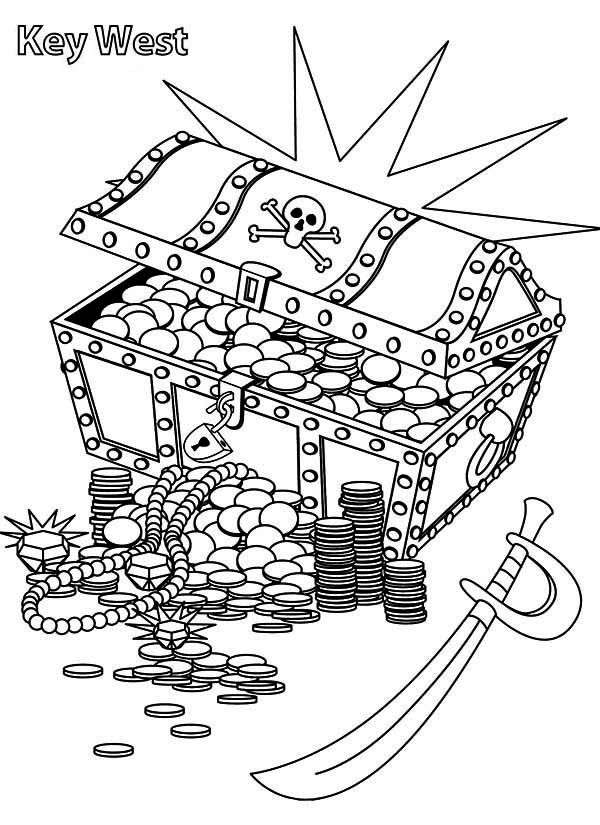 Treasure Chest, : A Treasure Chest with Pirate Marks Coloring Page