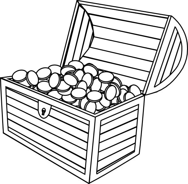 Treasure Chest, : A Wooden Treasure Chest Filled of Gold Coins Coloring Page
