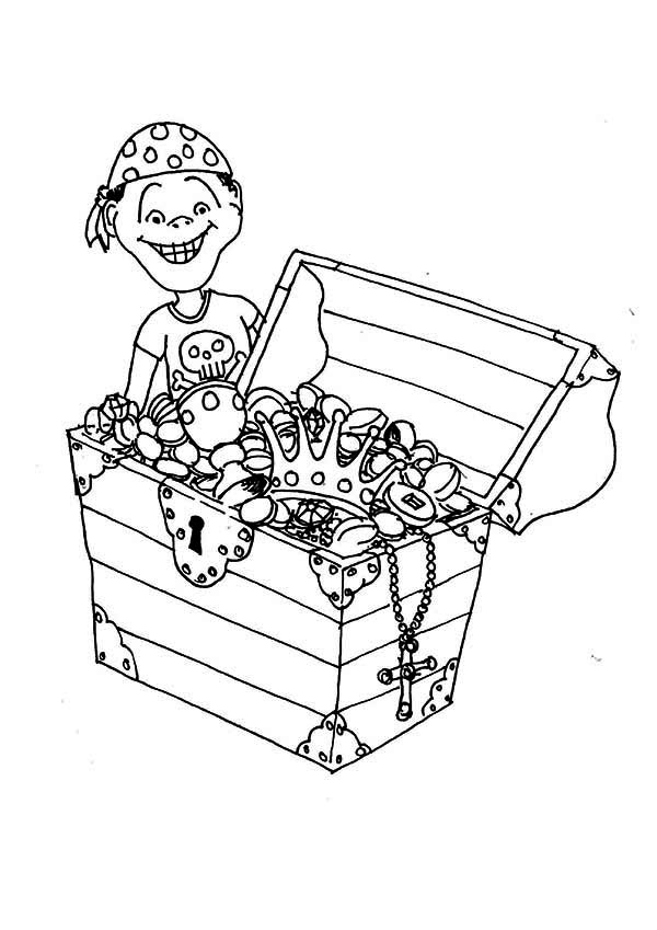 Treasure Chest, : A Young Pirate Boy and His Treasure Chest Coloring Page