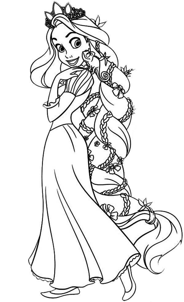Rapunzel, : Amazing Hair of Rapunzel Coloring Page