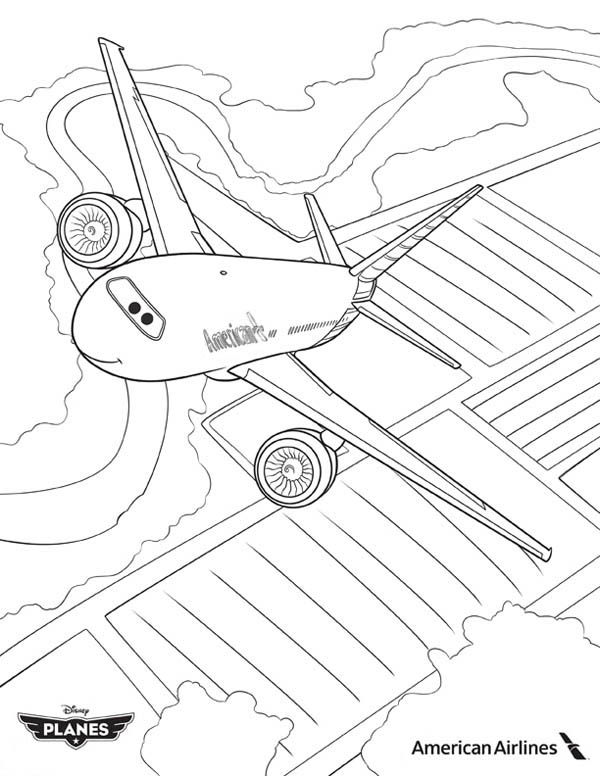 American Airlines Plane In Disney Planes Coloring Page