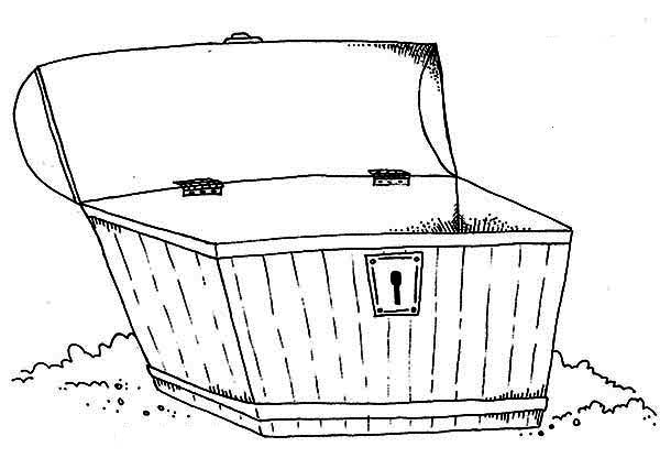 Treasure Chest, : An Empty Wooden Treasure Chest Coloring Page