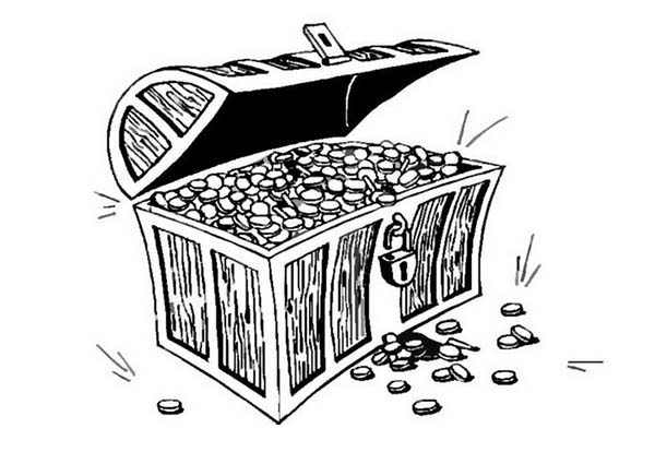 Treasure Chest, : An Opened Treasure Chest Full of Gold Coins Coloring Page