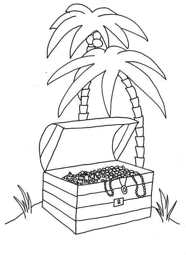 Treasure Chest, : An Opened Treasure Chest in Tropical Island Coloring Page