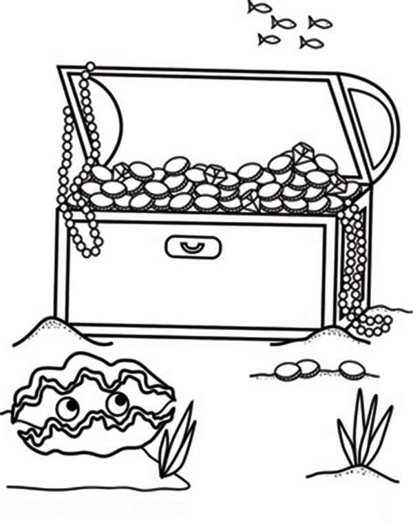 Treasure Chest, : An Opened Treasure Chest in the Bottom of the Sea Coloring Page