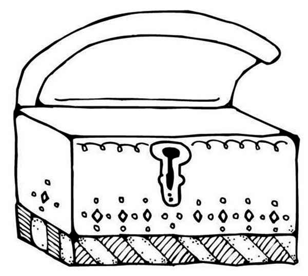 Treasure Chest, : An Opened Treasure Chest with Its Keyhole Coloring Page