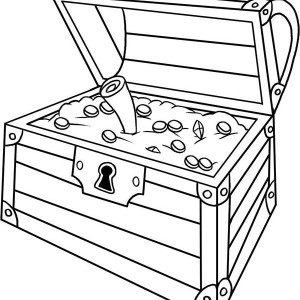 An Opened Treasure Chest With A Map Inside Coloring Page