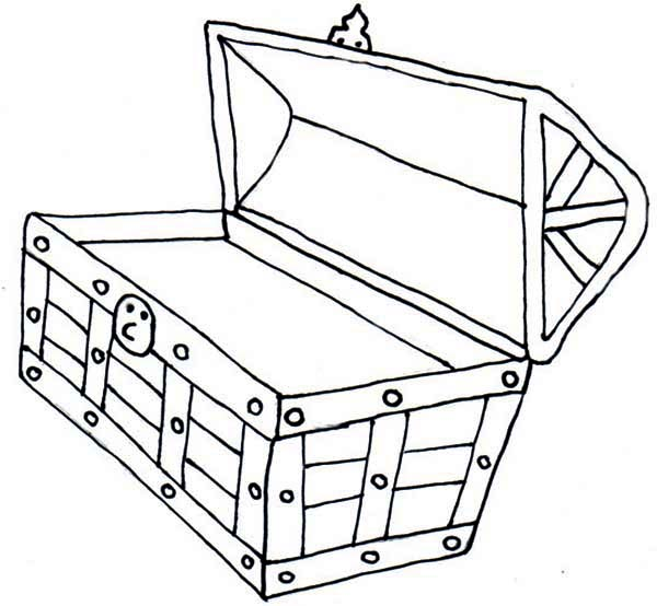 Treasure Chest, : An Opened Yet Empty Treasure Chest Coloring Page