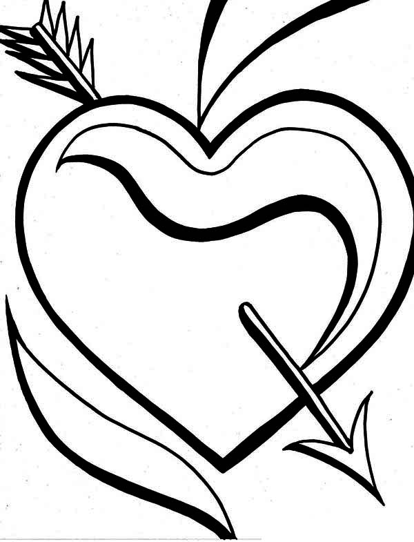 Valentine's Day, : An Ornamentic Heart and Arrow for Valentine's Day Decor Coloring Page