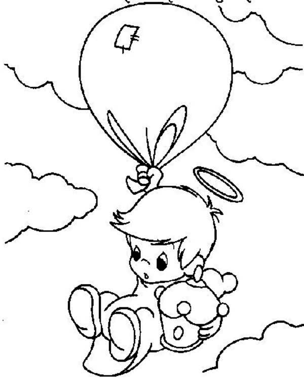 Precious Moments, : Angel Falling from the Sky Precious Moments Coloring Page
