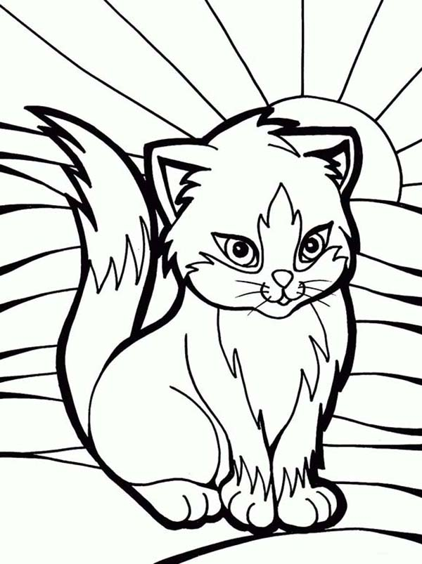Kitty Cat, : Artistic Kitty Cat in Glass Mural Coloring Page