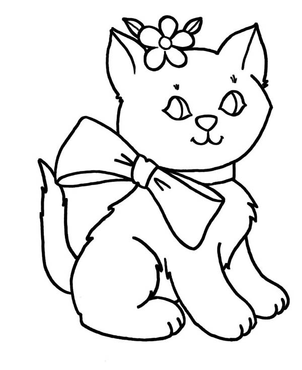 Kitty Cat, : Beautiful Kitty Cat in Lovely Outfit Coloring Page