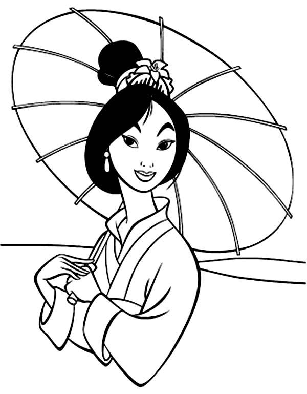 Disney Princesses, : Beautiful Mulan and Her Umbrella on Disney Princesses Coloring Page