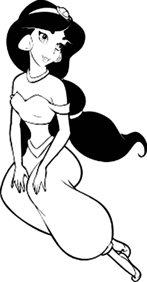 Disney Princesses, : Beautiful Princess Jasmine on Disney Princesses Coloring Page