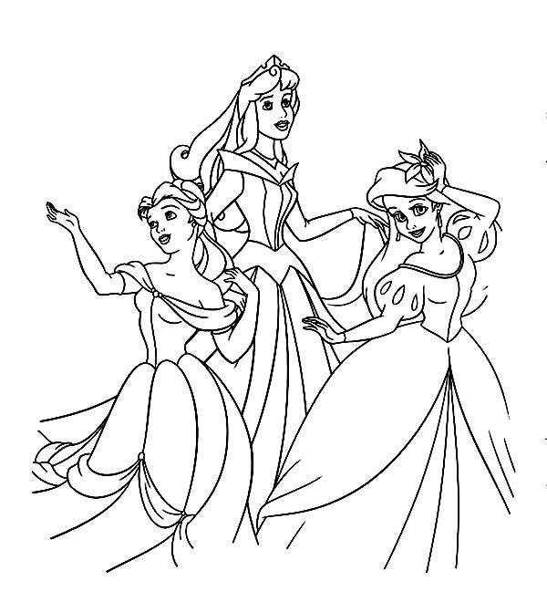 Disney Princesses, : Belle, Ariel and Princess Aurora on Disney Princesses Coloring Page
