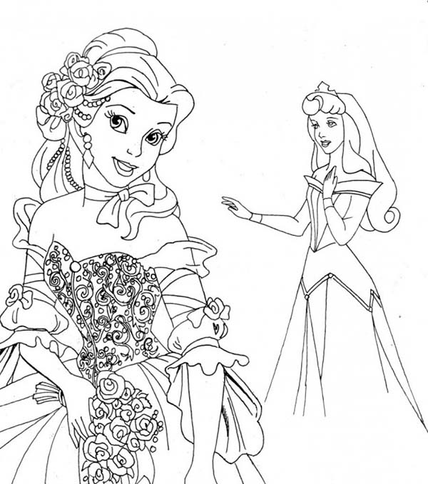 Disney Princesses, : Belle Meet Princess Aurora on Disney Princesses Coloring Page