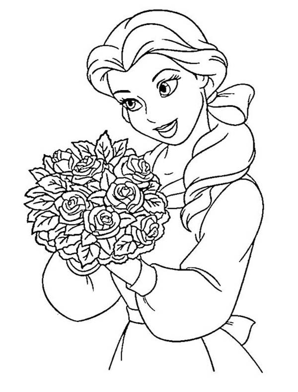 Disney Princesses, : Belle and a Bucket of Flower on Disney Princesses Coloring Page