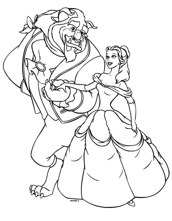 Disney Princesses, : Belle and the Beast on Disney Princesses Coloring Page