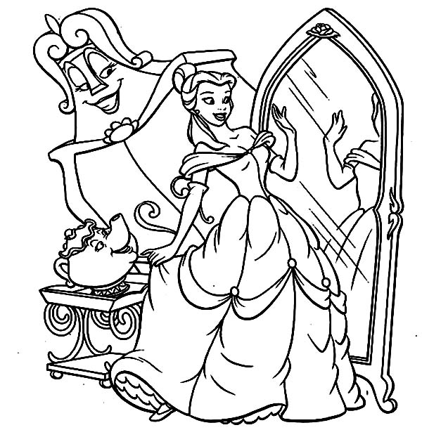 Disney Princesses, : Belle is Trying Her New Gown on Disney Princesses Coloring Page