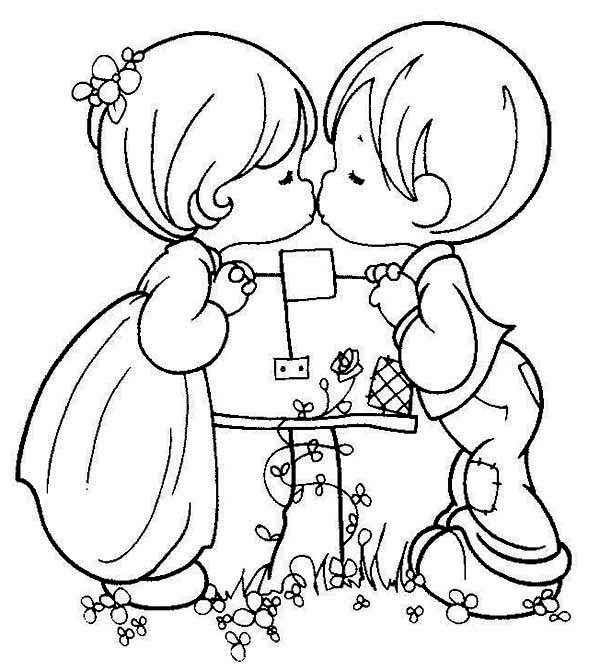 Precious Moments, : Boy and Girl Precious Moment Coloring Page