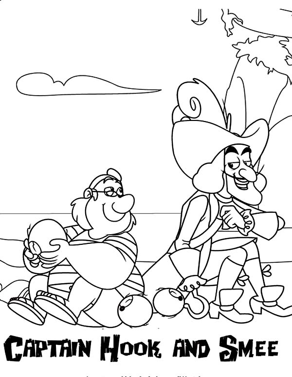 Jake and the Neverland Pirates, : Captain Hook and Smee Coloring Page
