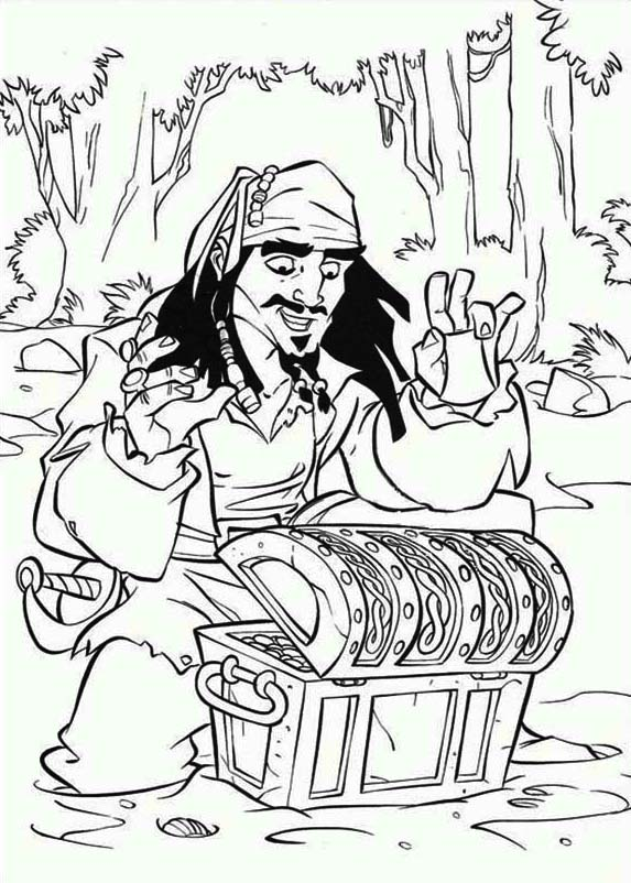 Treasure Chest, : Captain Jack Sparrow Found a Treasure Chest Coloring Page