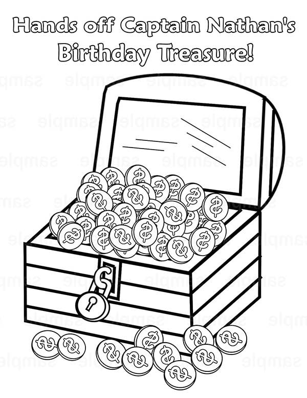Treasure Chest, : Captain Nathan Treasure Chest Coloring Page