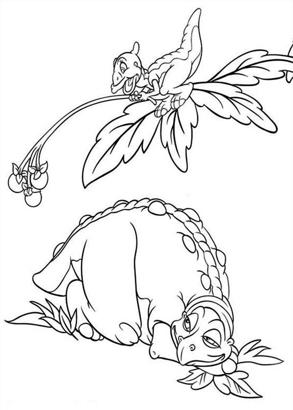 Land Before Time, : Cera Father Rest Under Petrie Land Before Time Family Coloring Page
