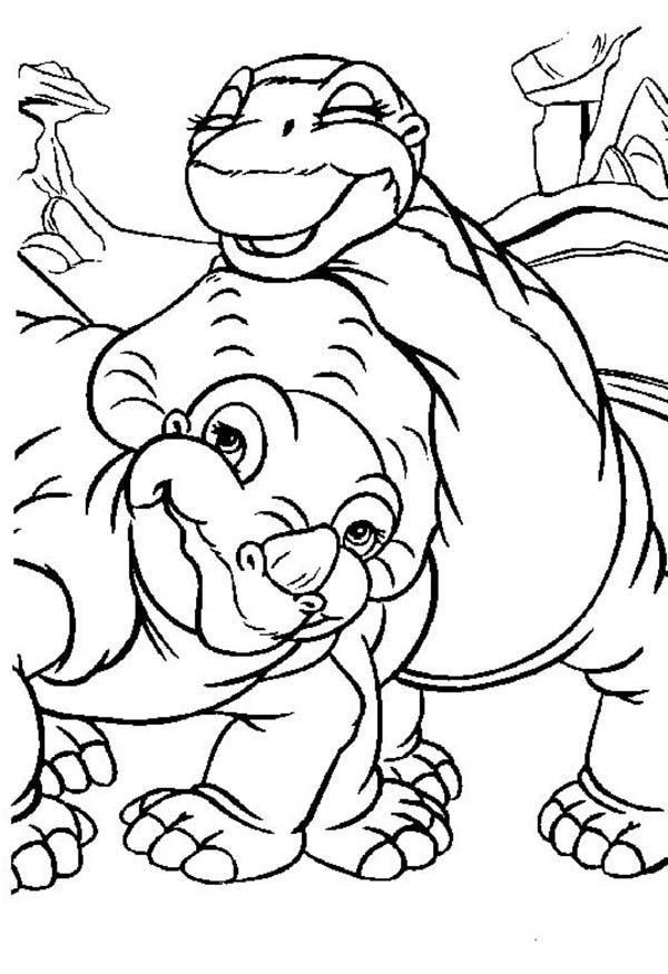 Land Before Time, : Cera and Little Foot Land Before Time Coloring Page