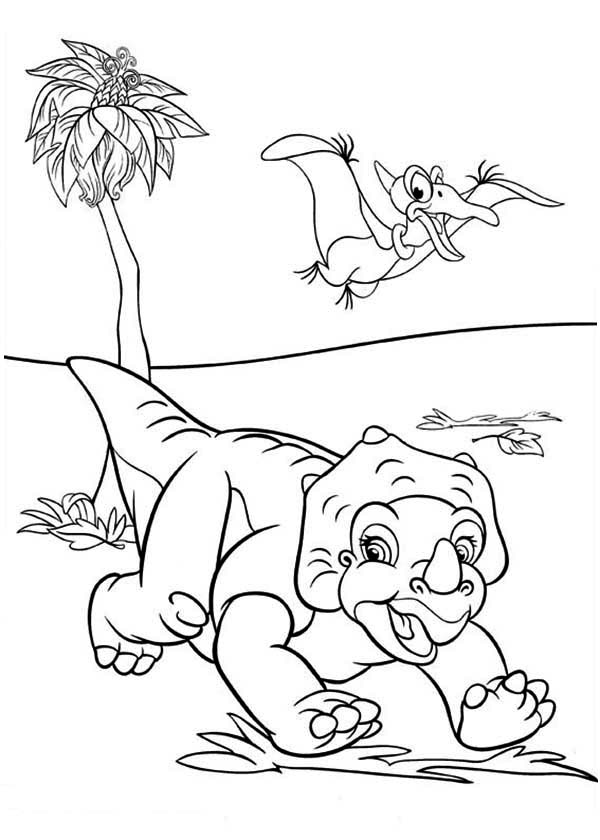 Land Before Time, : Cera and Petrie Land Before Time Coloring Page