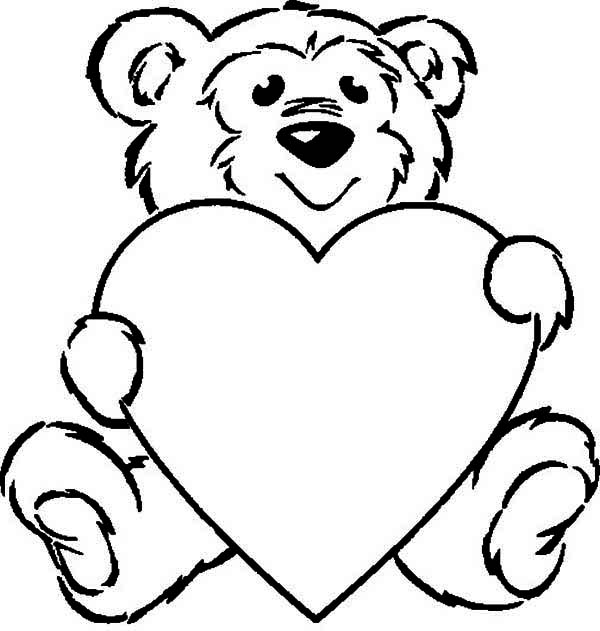 Valentine's Day, : Cute Teddy Bear and Giant Heart on Valentine's Day Coloring Page