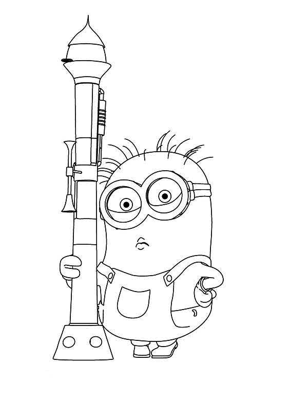 Minion, : Dave The Minion Holding Rocket Launcher Coloring Page