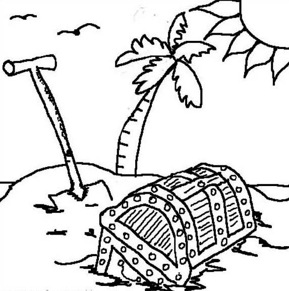 Treasure Chest, : Digging Treasure Chest in Caribbean Island Coloring Page