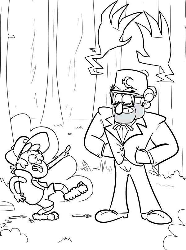 Gravity Falls, : Dipper Pines and Grunkle Stan Gravity Falls Coloring Page