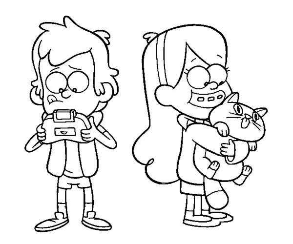 Gravity Falls, : Dipper Pines and Mabel Pines Playing on Their Own Gravity Falls Coloring Page